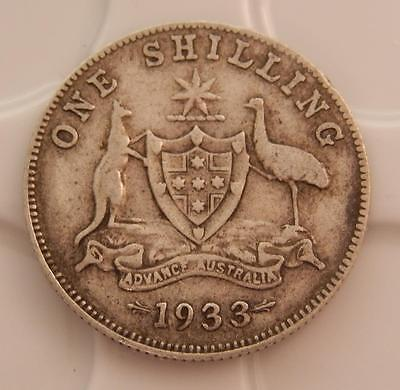 Australia 1933 One Shilling Sterling Silver Key Date Coin A126A