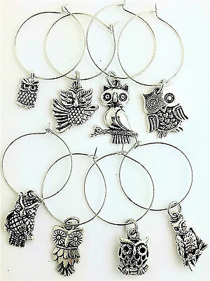 ADORABLE OWL Wine Glass Charms 8 PC SET LOT