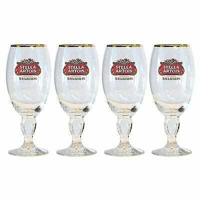 Stella Artois Chalice Beer Glasses 0.4 CL Set of 4 Glass Pub Bar Pint