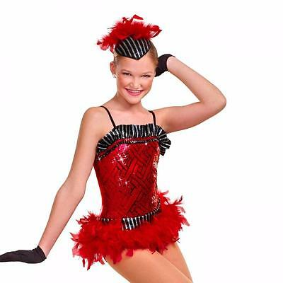 Dance Costume Large Child Red Feather & Sequin Jazz Tap Solo Competition Pageant