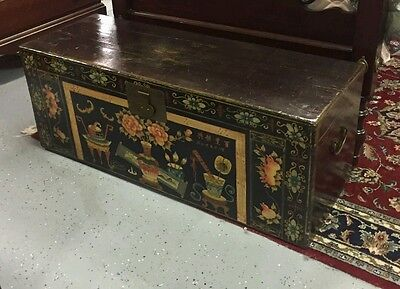 Yuma Wood Antique Chinese Lacquered Painted Marriage Trunks Chest 19Th C