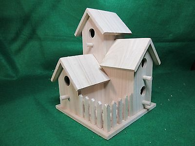 Unfinished Wood Decorative( Four Family with Picket Fence) Birdhouse