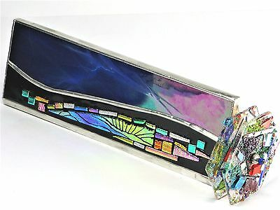 "Goldsmith Kaleidoscope 9"" Mandala Art Deco Dichroic Fused Stained Glass, 2 Disks"