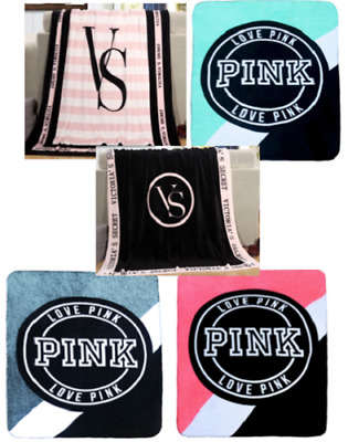 Victoria's Secret Love Pink Plush Throw Blankets - Any Color -Free U.S. Shipping
