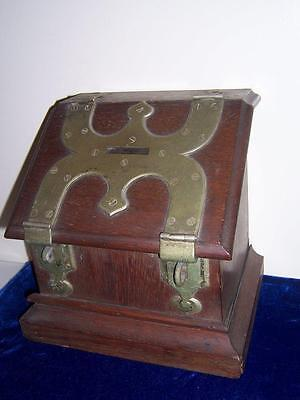 19th CENTURY ANTIQUE PRIMITIVE WOOD BALLOT VOTING BOX WITH BRASS ACCESSORIES