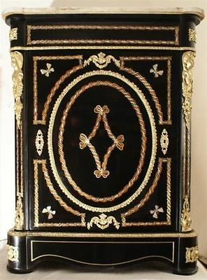 Antique French Napoleon Iii Bronze Mother-Of-Pearl Cabinet 19C.