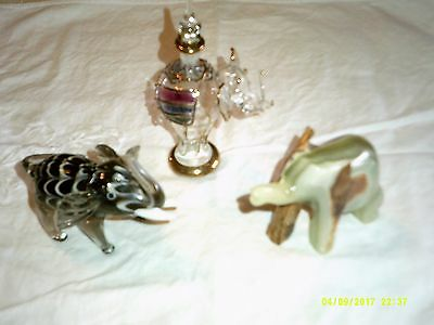 vintage elephant lot hand blown glass elephant crystal perfume bottle soapstone