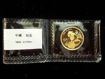 1998 China Panda 10 Yuan 1/10 Ounce Gold Coin Mint Sealed