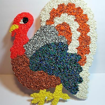 Vintage HUGE Thanksgiving Turkey popcorn melted plastic decoration 1960s-1970s