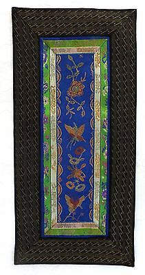 Antique Small Chinese Silk Embroidery Needlepoint Marked China E51 Wall Hanging