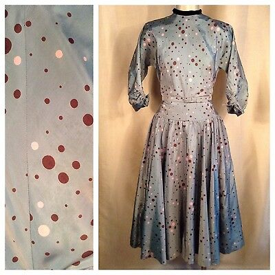 "Vintage 1950s Blue taffeta polka dot Dress Sm Md 27"" Waist Cocktail Party Garden"
