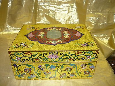 Large Vintage Chinese Cloisonne Box  9 3/4 X 7 1/4 X 4 1/4 in