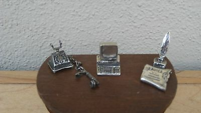 Sterling Silver/Not Scrap Solid.800 Silver Desk Set Computer/Ink Well/Old Phone