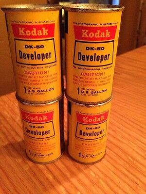 4 Vintage Kodak DK-50 Developer Cans / 1 Can Makes 1 Gallon / Rusty but Intact