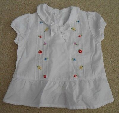 Gymboree Girls 12-18M White Top With Floral Embroidery