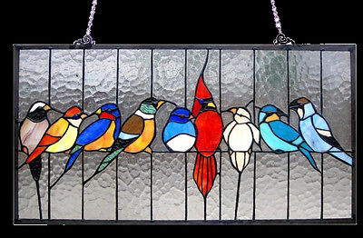 "Matching PAIR Singing Birds Tiffany Style Stained Glass Window Panel 24"" x 13"""