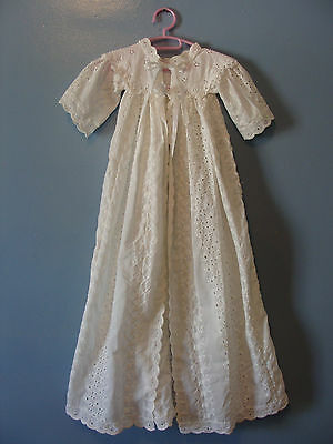 Vintage Handmade Baby Gown Christening White Eyelet Flowers Beautiful 50's