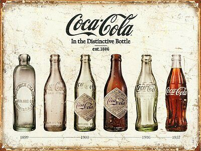 Coca Cola Advertising Bottle Evolution Distressed Vintage Style Metal Tin Sign
