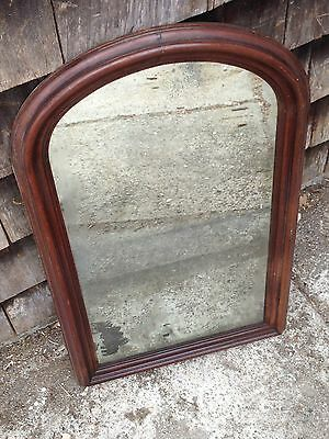 Vintage Antique Tombstone Glass Mirror in Early Wood Frame Beautiful Salvage