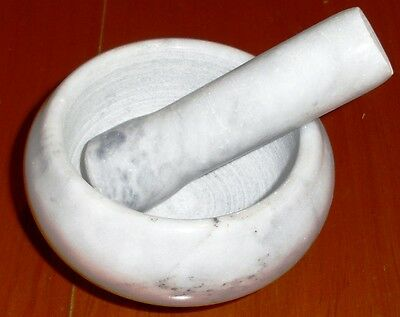 MORTAR AND PESTLE SET WHITE / GREY Marble Small Herbs Spices Garlic Chili