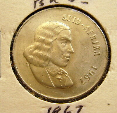 1967 SOUTH AFRICA 20 CENTS COIN Unc
