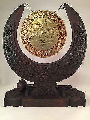 Vintage Brass Gong On Carved Wooden Stand Wood Mallet India