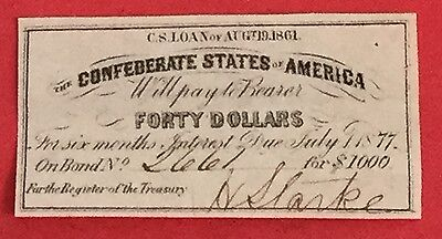 1861 $40 US Confederate States of America! Choice FINE! Genuine! Old US!