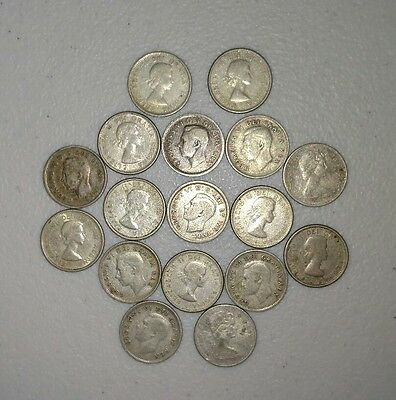 Lot of 17 Canada Silver 10 Cents Dimes 80% Silver Coins Canadian Mixed Year