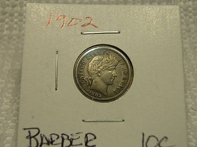 1902 Circulated Higher Grade Full Liberty Barber Dime Silver 10C