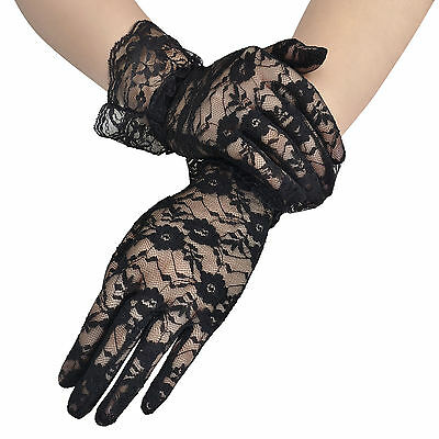Women's Summer Floral Lace Beauty Gloves Full Finger Party Driving Lace Gloves