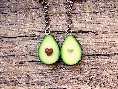 Avocado Keyrings - Heart Keychains - Best Friend Keychains - BFF Keychains