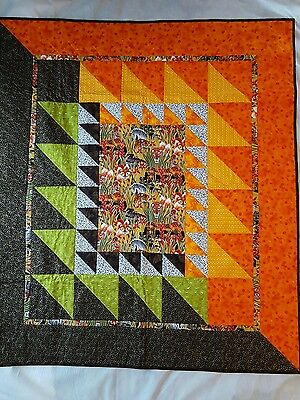 "New Handmade Baby Quilt Blanket Throw Safari Cute Animal Print 41""x47"" African"