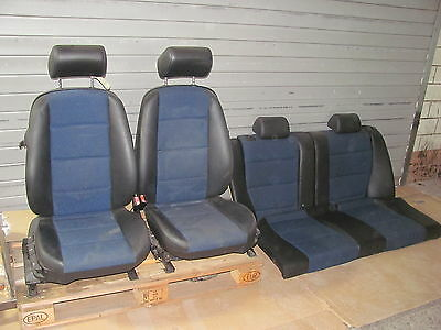 Seats Partial leather seat Fabric blue patterned BMW E36 Compact + Door panels