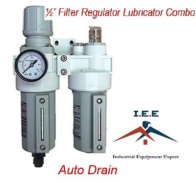 "2 Stages Filter Regulator Lubricator Combo 1/2"" NPT Auto Drain Metal Bowl"