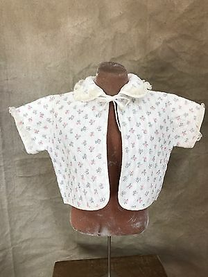 Vintage ZONA LEE Floral QUILTED BED JACKET Short-Sleeved Cardi Vest 12 18 24 mo