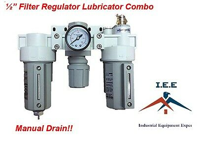 "3 Stages Compressed Air Filter Regulator Lubricator Combo 1/2"" NPT Manual Drain"