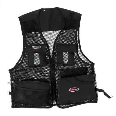 Multi-Pocket Vest Photography Hiking Utility Waistcoat Shooting Black L