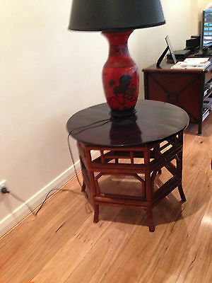 Unusual antique Round Bamboo lamp table
