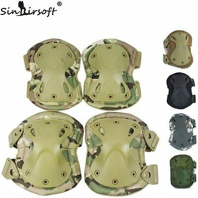 2x Adjustable Airsoft Tactical Combat Hunting Knee and Elbow Protector Pads Set