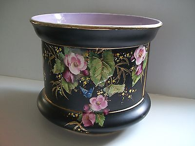 Antique Jardeniere Plant Pot Beautiful Painted Floral Applied Gold England