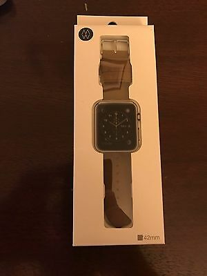 Monowear Apple Watch Band 42mm Brown Genuine Leather Polished Silver Adapter
