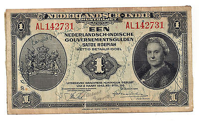 "1943 WW2 ""Short Snorter"" On Netherlands Indies 1 Gulden Note"