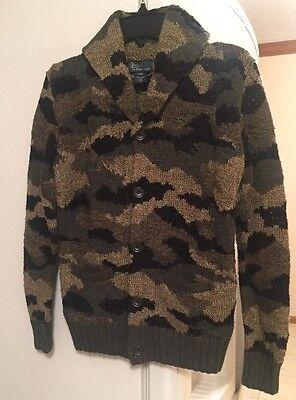 POLO By RALPH LAUREN Hand Knit Boys Camouflage Jacket Size S/M