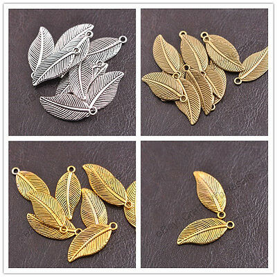 Tibetan Silver Leaf Shape Charms Pendants 27.5X12MM 3144