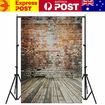 AU 5x7FT Retro Brick Wall Wood Floor Photo Backdrop Photography Background Props