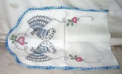 "#11 Vintage 40"" x 14 1/2 "" Hand Embroidered Dove's/Hearts Crochet Edging Linen"