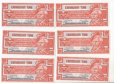 10 miint Canadian Tire 10¢ coupon money with ink smears on them. Free shipping.