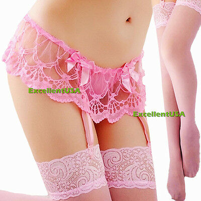 Fashion Womens Lace Top Thigh-Highs Stockings Socks + Garter Belt Suspender Set