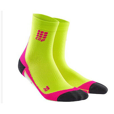 CEP Compression Women's Dynamic+ Short Socks Lime/Pink I Australian Retailer
