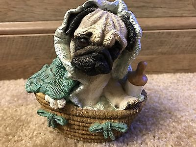 Pug in Baby Basket Pup Puppy Figurine Living Stone 1999 Dog Collectible Statue
